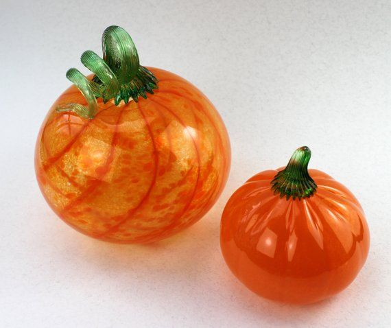 Set Of 2 Hand Blown Glass Pumpkins Orange Fall Halloween Etsy