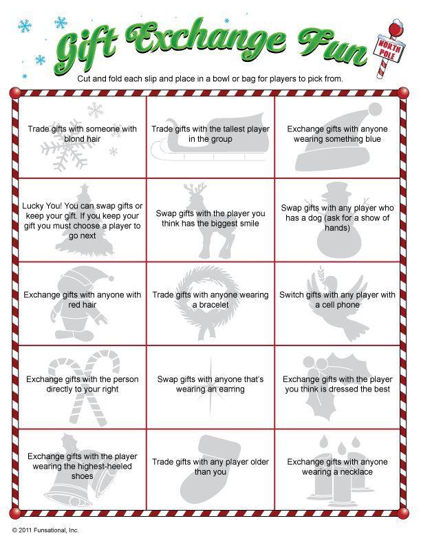 Christmas gift exchange swap games
