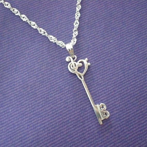 Skeleton Key Silver Music Necklace Pendant  Treble by yhtanaff, $52.00