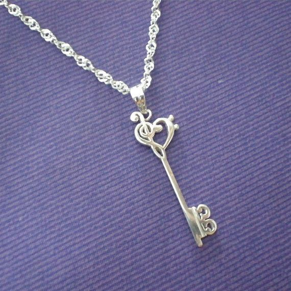 Skeleton Key Silver Music Necklace Pendant  Treble by yhtanaff, $52.00