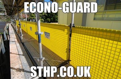 ECONO-GUARD  SCAFFOLDING SAFETY PRODUCTS -  ST HELENS PLANT LIMITED  Econo-Guard is designed for use on the majority of Scaffolding Systems, featuring extreme durability and can be easily and quickly fitted along the outside edges of the Scaffolding Structure.    Visit Us - WWW.STHP.CO.UK