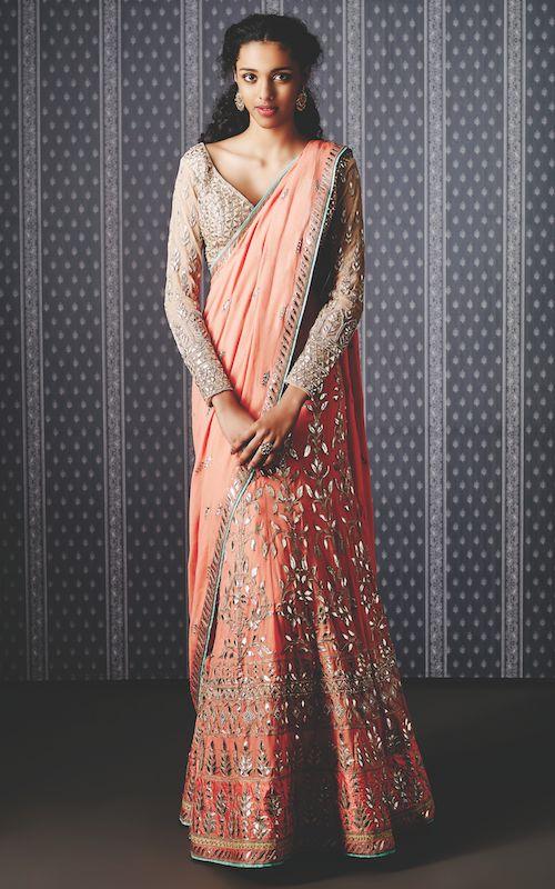 Peach lehenga sari | The Ishiya lehenga saree, the rishika earring by Anita Dongre and the aaradhya ring by Pinkcity | Summer Bride 2015 new collection | thedelhibride Indian weddings blog
