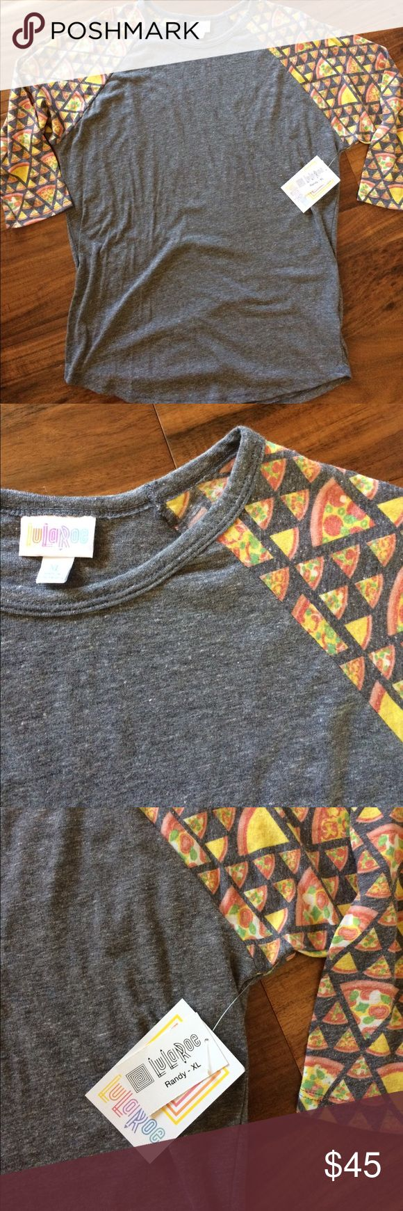 LuLaRoe Randy XL pizza!!! LuLaRoe Randy tee in size XL. Heathered grey body with pizza design on the sleeves!!! New with tags! Unicorn alert!!! LuLaRoe Tops Tees - Long Sleeve