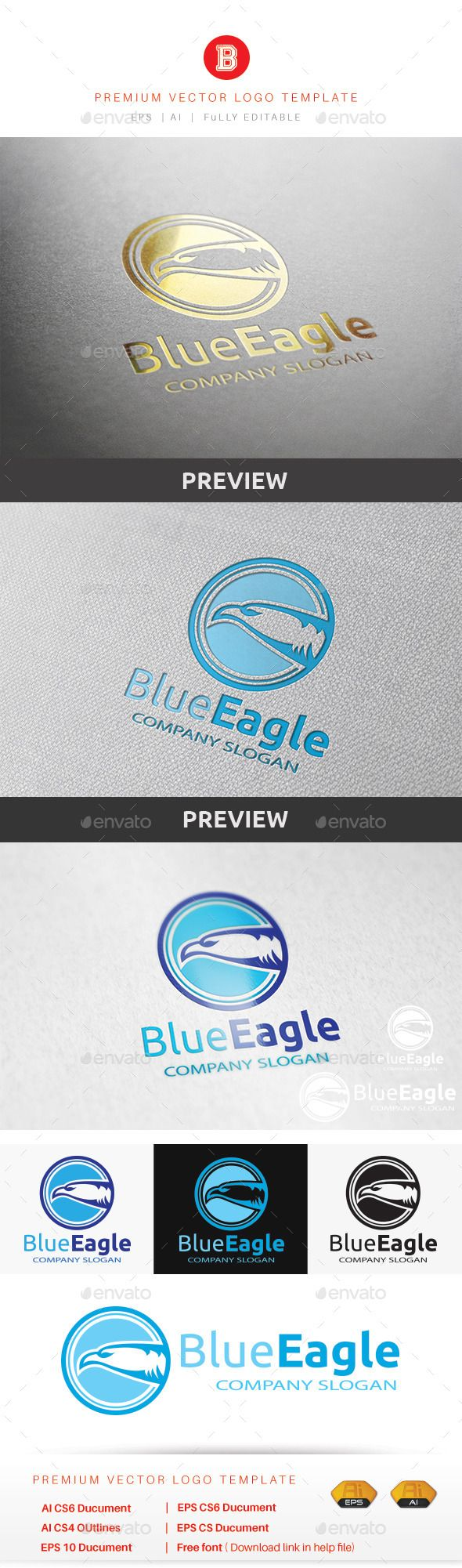 Blue Eagle — Vector EPS #airplane app #round • Available here → https://graphicriver.net/item/blue-eagle/9454065?ref=pxcr