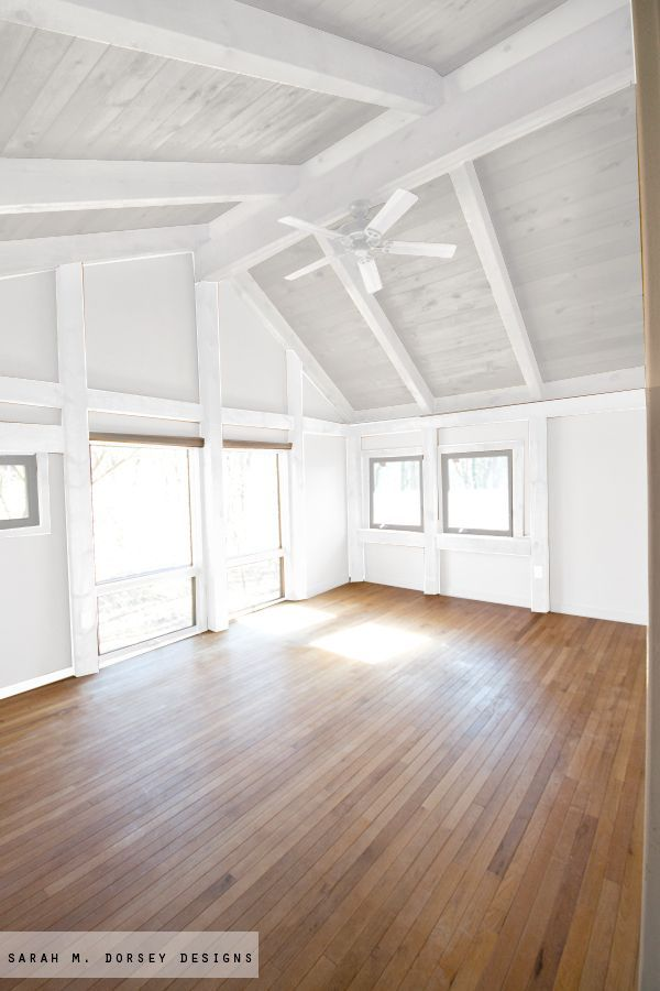 sarah m. dorsey designs: Wood in our house | to paint or not to paint. White wash the ceiling wood.