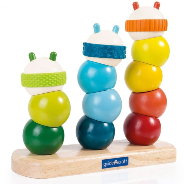Multicolored and multiFUNctional, this Guidecraft manipulative set comes with chunky rounded tactile shapes to stack up 3 funky caterpillars.