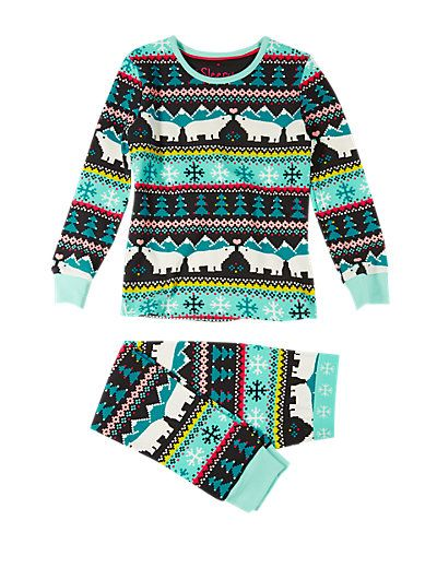 Cotton Rich Polar Bear Fair Isle Pyjamas (1-8 Years) | M&S - GBP 10 - 12