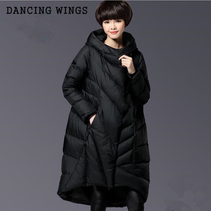 Plus Size 5XL Women Winter Down jacket Long Hooded Outwear Thick Warm Black Cotton Down Coat Female #Affiliate
