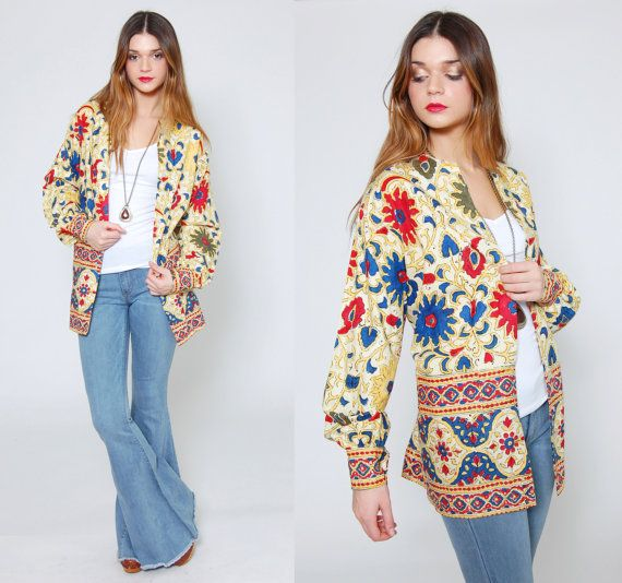 Vintage ETHNIC Jacket Cream Button Down TRIBAL Shirt Red And Blue FLORAL Print Long Sleeve Shirt Boho Top