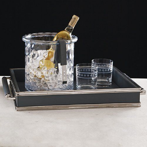 Global Views 9.91850 Double Handle Grey-Nickel Transitional Serving Tray GLV-9-91850