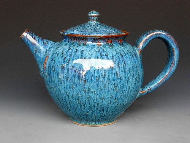 handmade teapot pottery in ocean blue Darshan pottery