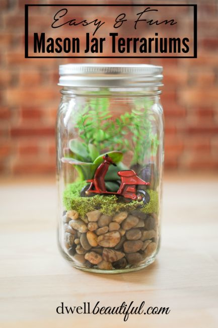 Make these easy and fun mason jar terrariums in a few simple steps with either natural or faux materials! The perfect spring craft for kids and adults alike!: