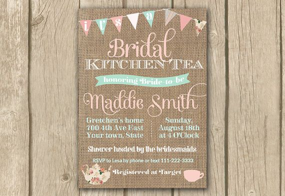 bridal kitchen tea invite afternoon tea invite high tea pink mint