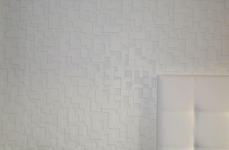 Papel pintado textura ladrillo color blanco cabecero for Papeles pintados vinilicos