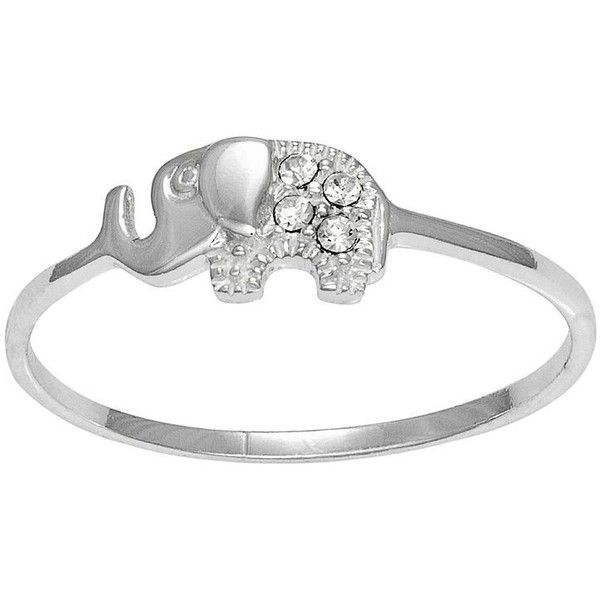 Itsy Bitsy Sterling Silver Crystal Elephant Ring, Adult Unisex, Size:... ($12) ❤ liked on Polyvore featuring jewelry, rings, white, white crystal rings, sterling silver jewelry, crystal stone rings, elephant jewelry and crystal jewellery