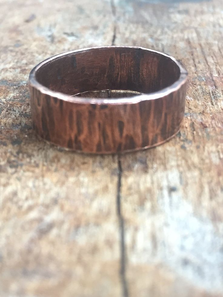 Copper Tree Bark Ring,Wide Hammered Copper Ring,Unisex Jewellery,Nature Ring,Gift for Her,Gift for Him, 7th Anniversary Gift,Handmade,UK by LonelyCoveJewellery on Etsy