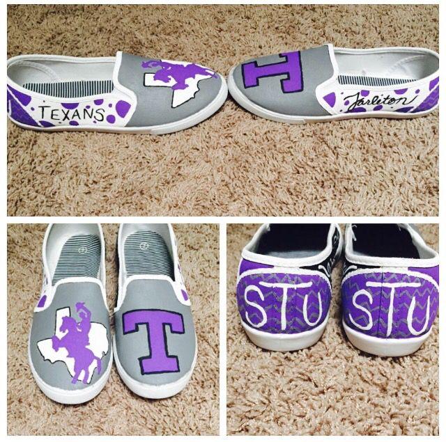 Tarleton State University custom painted shoes: $65