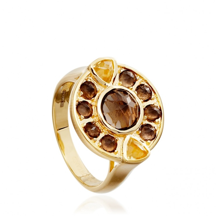 Smoky quartz & citrine Helios #ring by Katie Rowland