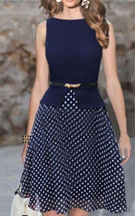 Navy Blue Polka Dot Patchwork Belt Summer Women Casual Gown Prom Chiffon Dress