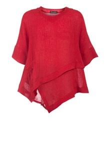 Donna Sophia Linen tunic with asymmetrical hemline in Red