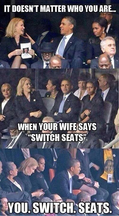 (image) Is This The Most Important Selfie Of 2013? British Prime Minister David Cameron, Denmark's Prime Minister Helle Thorning-Schmidt, and President Obama pose for a photo during Nelson Mandela's memorial service. Michelle Obama is not amused.