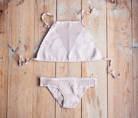 Halter Swimsuit Halter Bikini Halter Crochet Top by creaspir