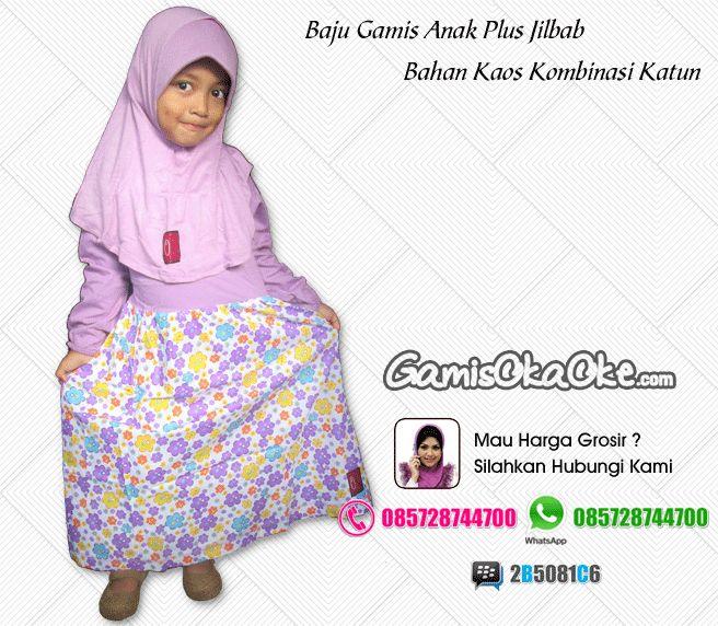 Grosir baju muslim anak perempuan harga murah bahan kaos dan katun model gamis terbaru.Tersedia untuk anak umur 1, 2, 3, 4, 5, 6, 7, 8, 9, 10 tahun hingga remaja. Untuk pemesanan silahkan hubungi kontak yang tertera di gambar atau bisa juga kunjungi toko online kami di http://www.gamisokaoke.com