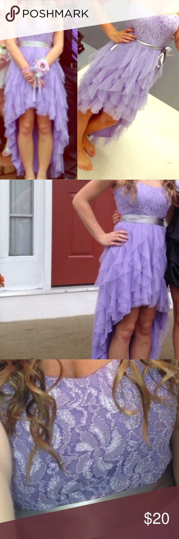 Homecoming/prom dress Light purple dress with grey ribbon around waist, short in front & long in back, worn once. Dresses Strapless