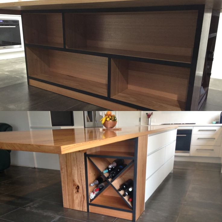 Bookshelf & wine rack custom built to suit under kitchen island bench