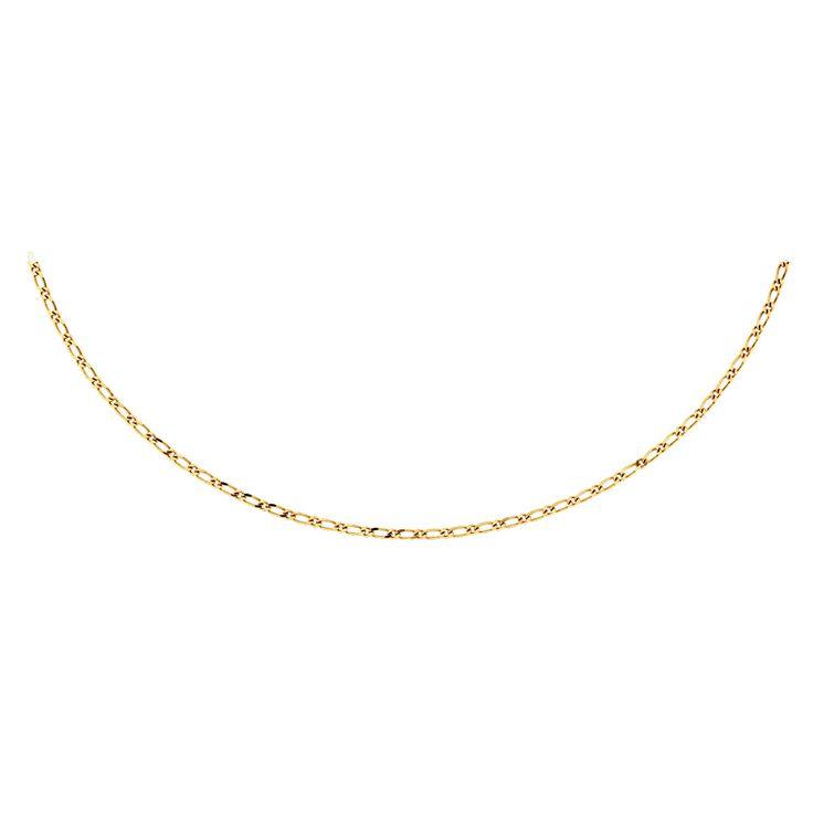 """10ct Yellow Gold 45cm (18"""") Figaro Chain"""