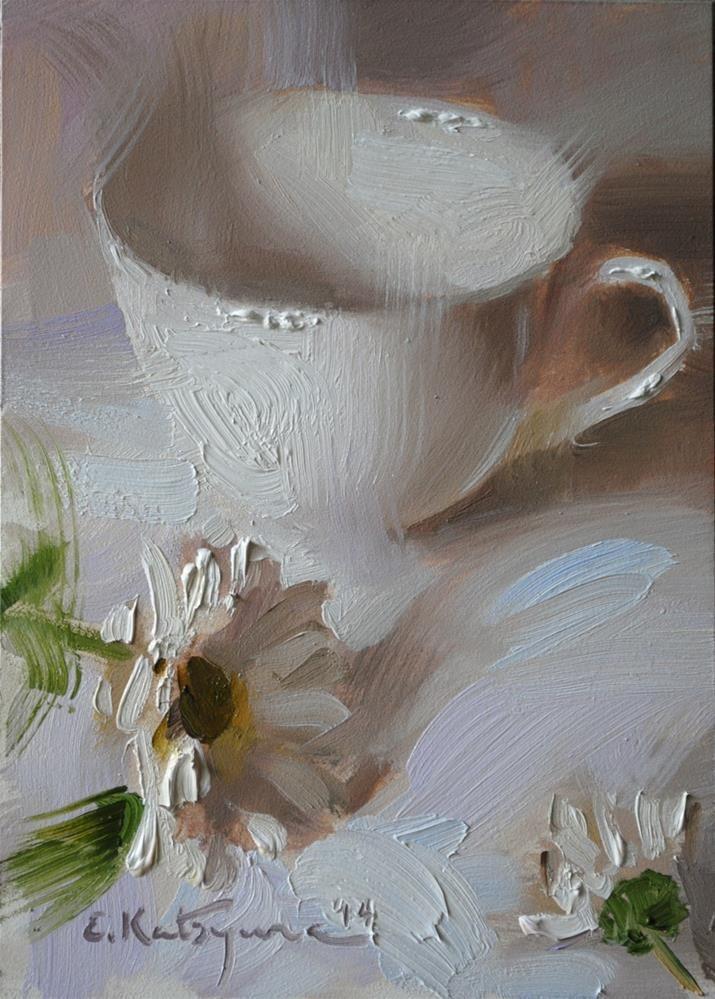 """Cup on White"" original fine art by Elena Katsyura - 0il on gessoboard"