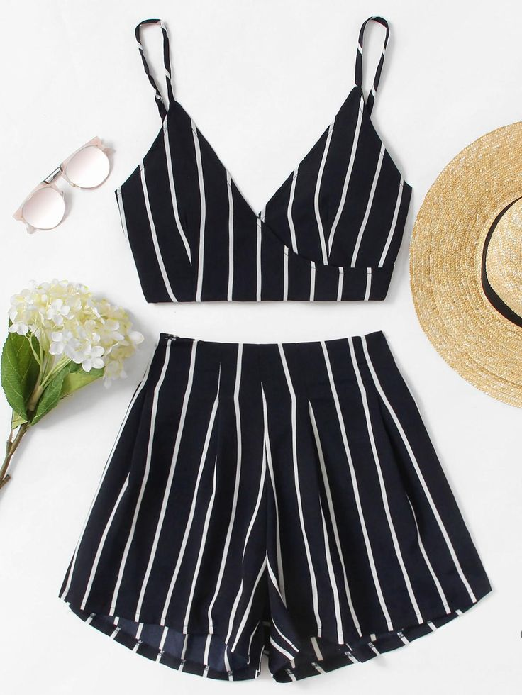 ROMWE - ROMWE Stripe Surplice Bow Tie Open Back Crop Cami Top With Shorts - AdoreWe.com