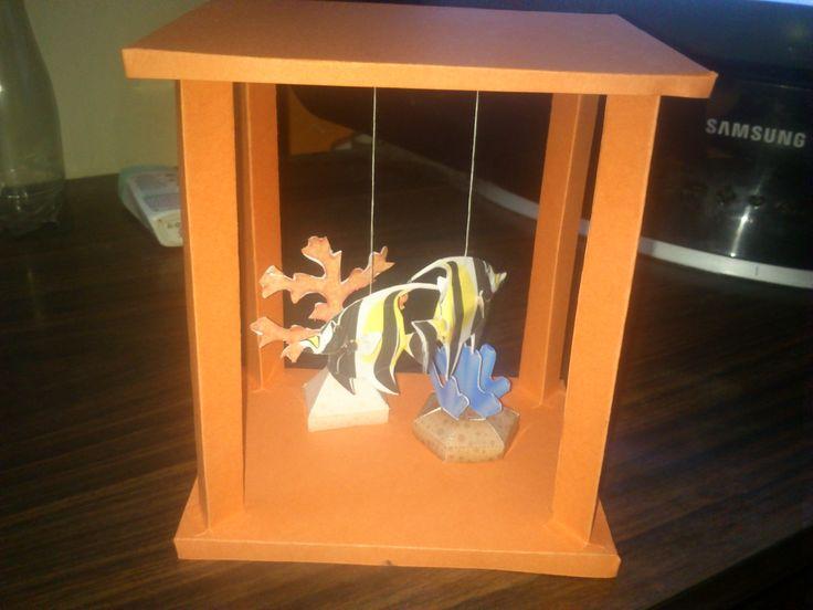 Mini paper craft aquarium