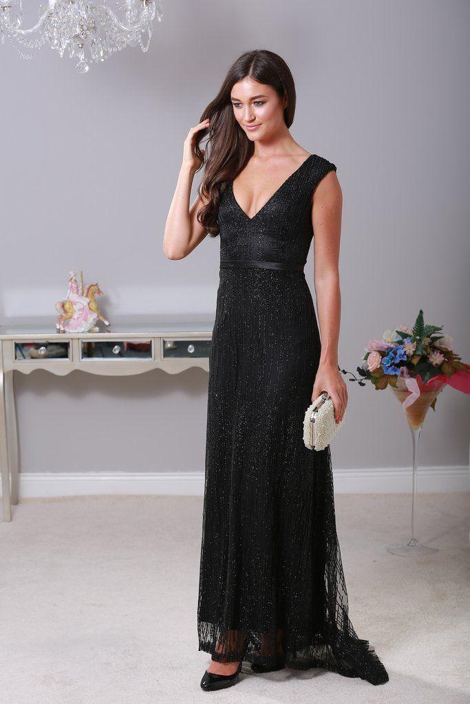 Rachel Black Glitter Maxi Dress