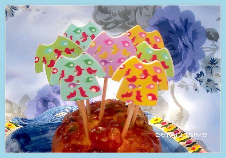 Palillos de madera decorados (10 cms). Ideales para adornar tartas, bizcochos, cupakes, muffins, aperitivos, pinchos.. pedidos y catálogo: detallisime@yahoo.es