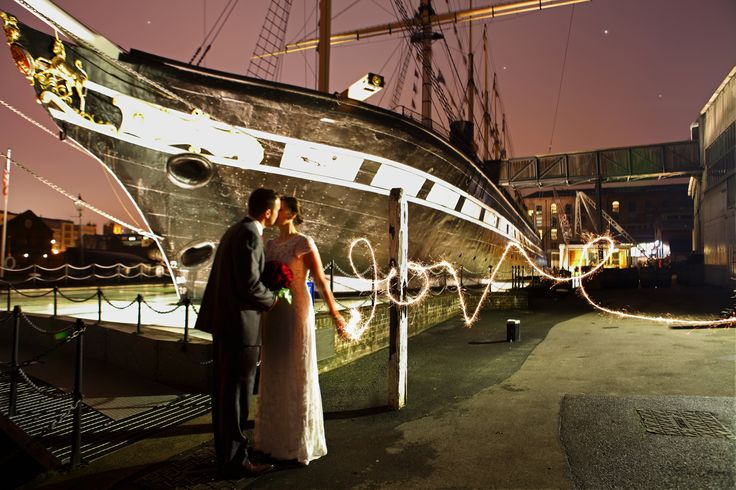 Wedding Photography Sparklers SS Great Britain, Bristol www.hanamaitlandphotography.com