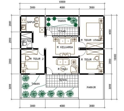 hasil gambar untuk denah rumah modern minimalis   denah