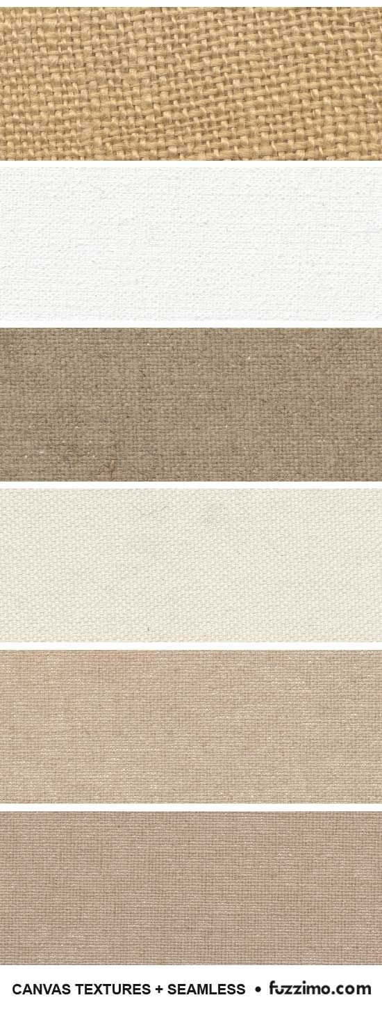 Free canvas printables. Linen canvas, cotton canvas and some burlap (hessian) fabric textures. Also four  seamless patterns that can be used as textile backgrounds.