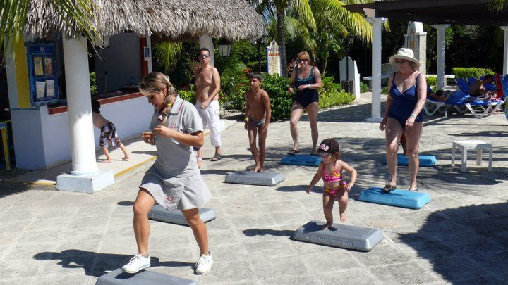Daily activities including aerobics by the pool