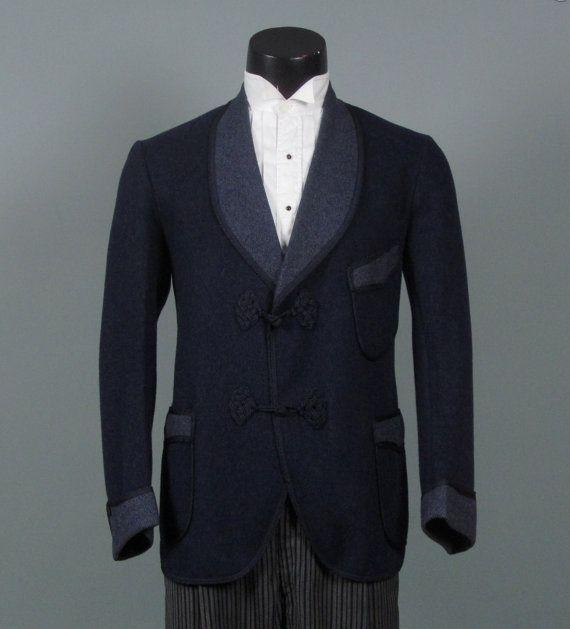 Vintage 1920s Mens Smoking Jacket  Blue Wool  by jauntyrooster, $225.00
