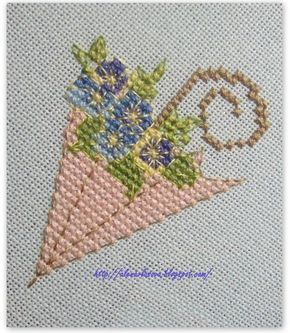 point de croix parapluie romantique - cross stitch romantic umbrella