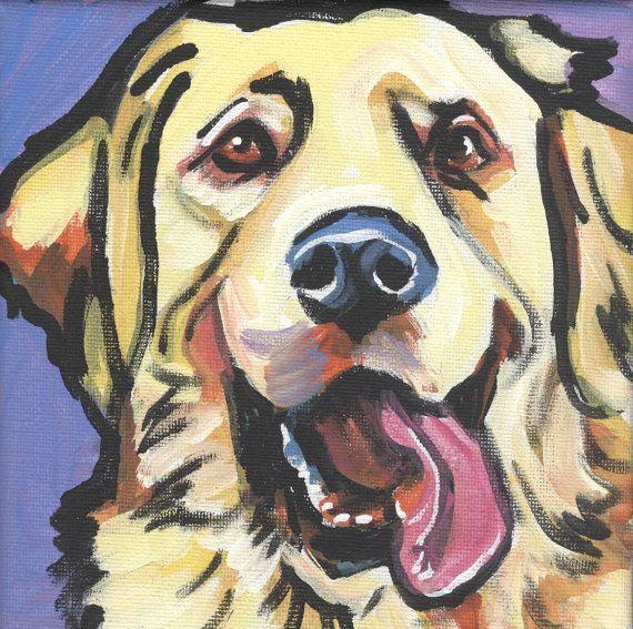 Love... Golden Retriever modern Dog art print pop dog art by BentNotBroken, $22.99