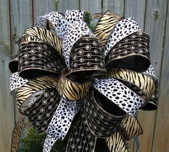 Tree Top Bow For Christmas   Large Animal Print Tree Topper   Dalmatian  Zebra Print In Gold Black Silver And White Christmas Tree Topper