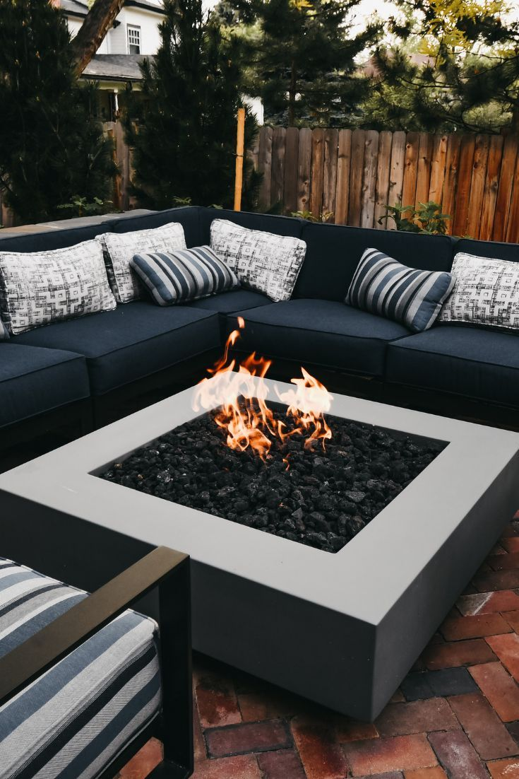 Pin On Backyard Makeover Modern outdoor fire pit table