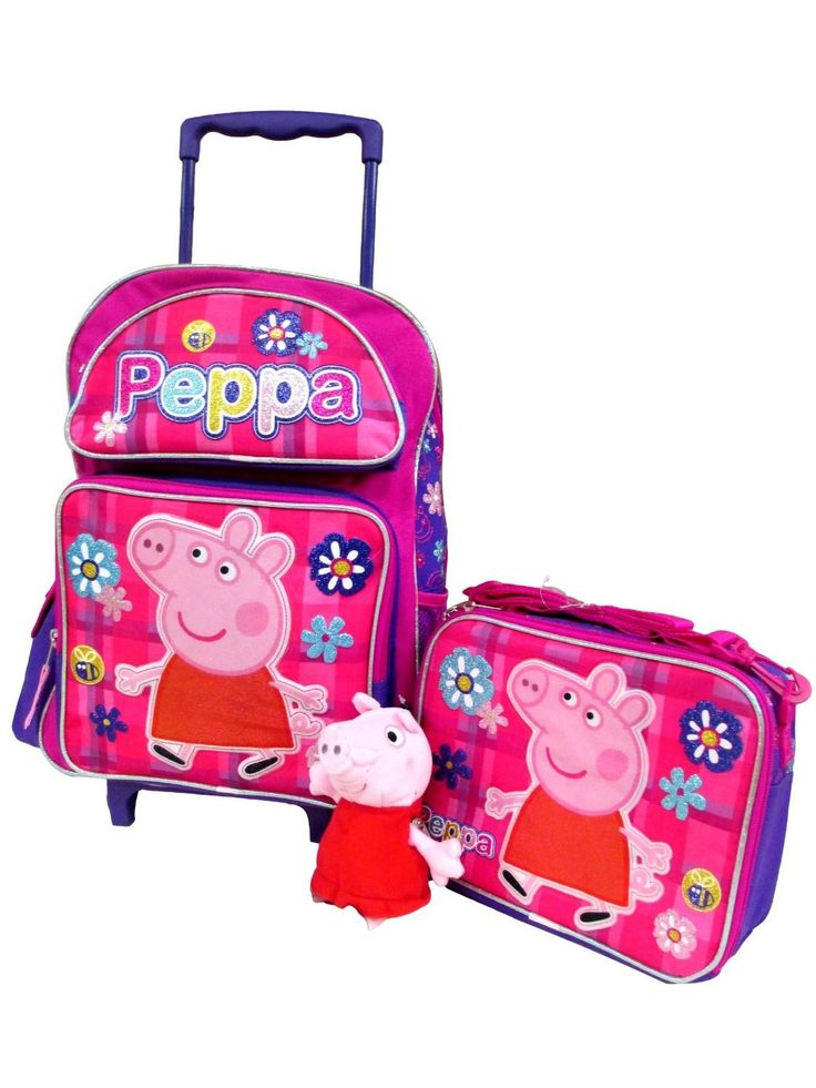 """Peppa Pig Large 16"""" Backpack Book Bag, Lunch Box & 7"""" Clip On Plush Doll. Peppa Rolling Backpack Set!."""
