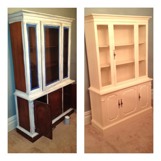 Painting An Outdated China Cabinet 60 Dollar Remodel Behr Creme Brulee 123 Primer Refurbished HutchBehrChina