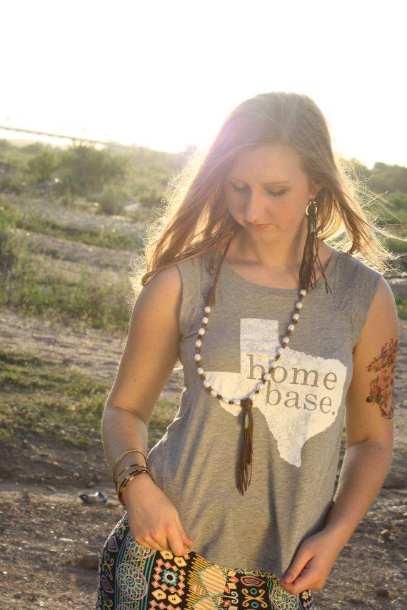 MEDIUM Home Base Texas Muscle T-Shirt, White on Heather Grey American Apparel Sleeveless Shirt for the Native Texan.