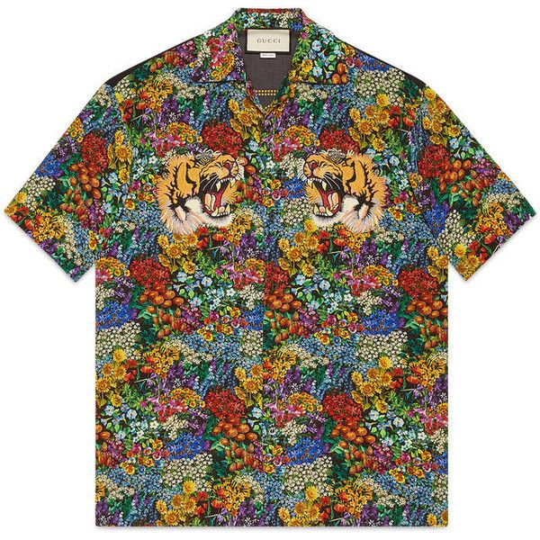 Gucci Floral Print Silk Bowling Shirt ($975) ❤ liked on Polyvore featuring men's fashion, men's clothing, men's shirts, men's casual shirts, shirts, men, ready to wear, mens floral shirts, mens bowling shirts and mens silk shirts
