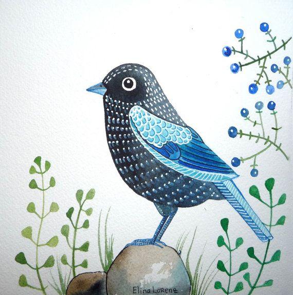Black Bird / Organic Art / Wall Art / Original by sublimecolors, $29.99