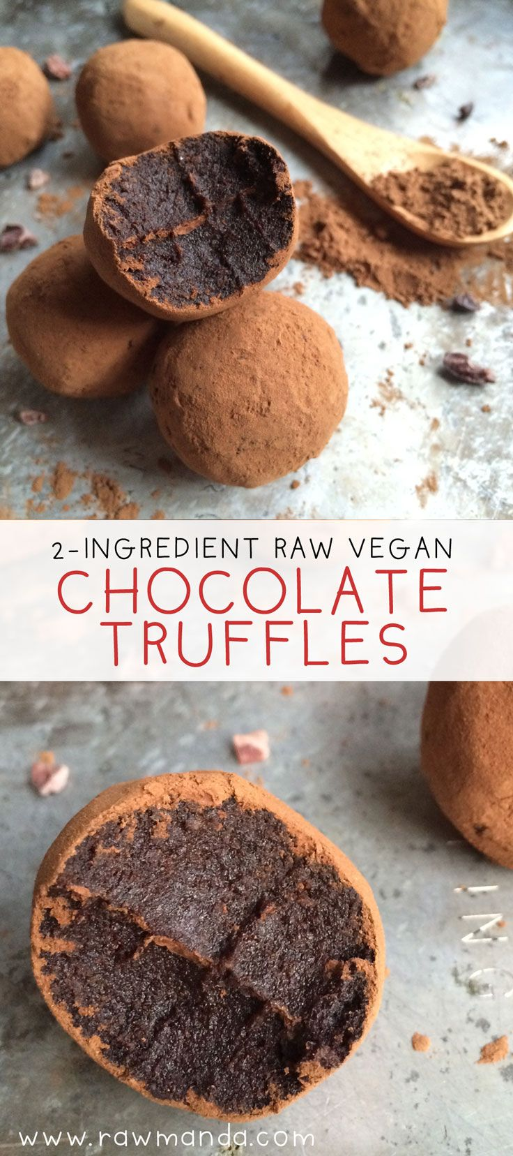 2 Ingredient Raw Chocolate Truffles - The easiest holiday dessert recipe ever. These truffles are something everyone can enjoy! #vegan